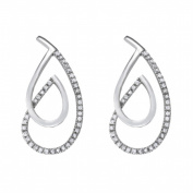 Fine Jewellery Vault UBNER40956W14CZ Unique Design Cubic Zirconia 14K White Gold Fancy Earrings