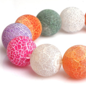 Round Mix-Colour Frosted Agate Gemstone Loose Beads In Bulk Beads For Jewellery Making Wholesale Beads One Strand 15""