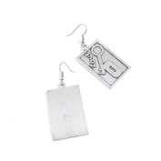 2 Pairs Jewellery Making Antique Silver Tone Earring Supplies Hooks Findings Charms Z1HA0 Love Lock Tag Signs