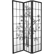 Oriental Furniture 1.8m Tall Lucky Bamboo Shoji Screen - Black - 3 Panels