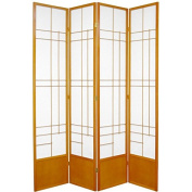 Oriental Furniture 2.1m Tall Eudes Shoji Screen - Honey - 4 Panels