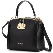 Kadell Women Leather Top Handle Shell Messenger Bag with Removable Strap Pure Colour Black