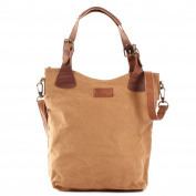 LECONI handle bag vintage shopper woman handbag with strap Canvas cow leather 34x35x10cm LE0054-C
