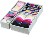 Aotuno Closet Underwear Organiser,Foldable Storage Box Drawer Divider Kit Set of 4 (grey)
