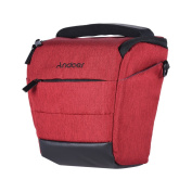 Andoer Portable DSLR Camera Shoulder Bag Sleek Polyester Camera Case for 1 Camera 1 Lens and Small Accessories for Canon Nikon Sony Fujifilm Olympus Panasonic RED