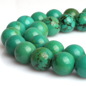 """Natural Round Old Natural Turquoise Gemstone Loose Beads for Jewellery Making Handmade DIY One Strand 15"""""""