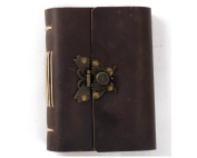 Ancicraft Genuine Leather Journal Diary with Retro Butterfly Lock Handmade Lined Craft Paper Brown A6 with Gift Box