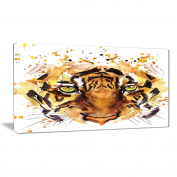 "Designart PT6058-100cm - 50cm Eyes with Fire Animal"" Canvas Artwork, Brown, 100cm x 50cm"