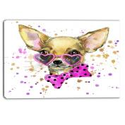 "Designart PT6035-100cm - 80cm Puppy Dog in Watercolour Animal"" Canvas Artwork, Brown, 100cm x 80cm"