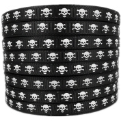 50yd 1cm Polyester White Skull Printed Black Grosgrain Ribbon for Hairbow Party Craft Supplies