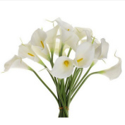Outtop 10 Heads 30cm Calla Lily Artificial Flowers Bouquets Real Touch Fake Flower for Home and Wedding Decoration