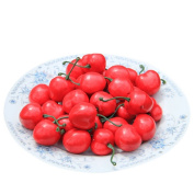 Outtop 3D 100 Pcs Artificial Plastic Cherry Fruit Real Touch for Home Decoration Decor