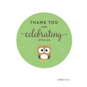 Andaz Press Birthday and Baby Shower Round Circle Labels Stickers, Thank You for Celebrating With Us, Woodland Owl, 40-Pack, For Gifts and Party Favours