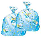 Jumbo Plastic Blue Polka Dot Boy Baby Shower Gift Bags