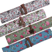 Bundle Monster 4pc Mixed Floral Design Roll Up Wrap Style Charm Tie Brush and Pencil Cases