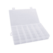 Mobengo 36 Grids Clear Plastic Jewellery Box Organiser Storage Container with Removable Dividers