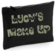 Personalised Make Up Bag/Accessory/Pencil Case In 3 Sizes *PINK/BLACK/NATURAL*