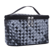 Gradient Colour Woven Makeup Bag Cosmetic Travel Cosmetic Toiletry Storage Bag Organiser Black