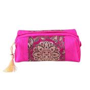 Vintage Satin Floral Handbage Silk Storage Bag Toiletry Travel Makeup Organiser Bags Gift Rose