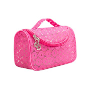 Sweet Lace Floral Waterproof Travel Makeup Bag Organiser Transparent Storage Bags Cover Rose