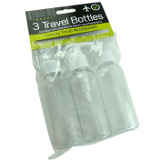 New 3 x 100ml Transparent Travel Bottles Complies with International Airport Liquid Restrictions