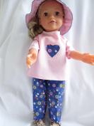Pink/purple outfit with hat and shoes to fit Designafriend; Sindy; Our Generation' American Girl and other 46cm dolls