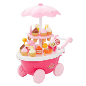 Veroda DIY 39pcs Pink Ice Cream & Sweets Cart Childrens Kids Girls Pretend Role Play Toy Food Play