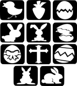 #28 Refill Stencils Only - 11 X Easter Glitter Tattoo Stencils - Face Painting And Airbrush Stencils
