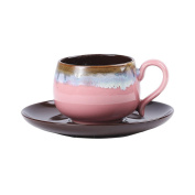 180Ml Retro Hand-Painted Ceramic Coffee Cup And Saucer Set Tea Cup Set With Spoon,Pink