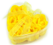 Domire Elegant Rose Petal Soap Flowers in a Clear Heart-shaped Container / 6 Yellow Rose Soaps Per Box