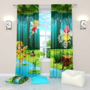 """Abstract dandelions - W84"""" x L84"""" Curtain Panel (Set of 2), Polyester. Window Treatment Living, Kids, Youth Room"""