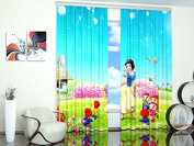 "Curtains for Kids Room. Snow White - W84"" x L84"" Curtain Panel (Set of 2), Polyester. Window Treatment Drapes for Bedroom"