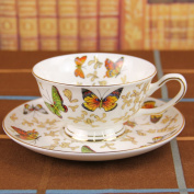 250Ml European Bone China Colourful Butterfly Printed Coffee Cup And Saucer Set Afternoon Tea Cup Set