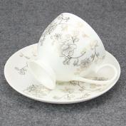 230Ml Creative Bone China Flower Printed Coffee Tea Cup And Saucer Set