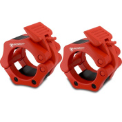 Barbell Collars (Pair) –Locking 5.1cm Olympic Size Weight Clamps - Quick Release Collar Clips – Bar Clamps Great for Crossfit, Olympic Lifts and Strength Training