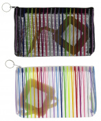 Making Waves Women's Rainbow Striped Mesh Zippered Make-Up Bag (2pcs)