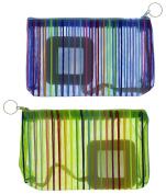 Making Waves Women's Rainbow Striped Mesh Zippered Make-Up Bag (2pcs)