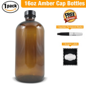 Empty Amber Glass Bottle-Large 470ml Refillable Container for Storing Chemicals, Shampoo, Conditioners, Soaps, Cleaning Products, Essential Oils, and Aromatherapy-Black Caps-1 Pack Bonus Free Extras