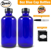 Empty Blue Glass Bottle-Medium 240ml Refillable Container for Storing Chemicals, Shampoo, Conditioners, Soaps, Cleaning Products, Essential Oils, and Aromatherapy-Black Caps-2 Pack Bonus Free Extras