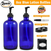 Empty Blue Glass Lotion Bottle–Large 470ml Refillable Container for Lotion, Soap, Shampoo, & More-Black Lotion Pump-2 PackBonus Free Caps, Designer Labels, Permanent Marker, & Money Saver eBook