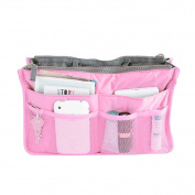 1Pc Multi Portable Double Zipper Storage Bag Makeup Organiser Handbag Bag in Bag Travel Organiser Grey