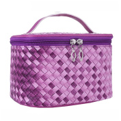 Gradient Colour Woven Makeup Bag Cosmetic Travel Cosmetic Toiletry Storage Bag Organiser Purple