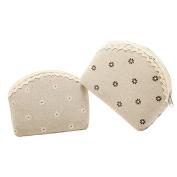 2Pcs Pastoral Floral Linen Coin Purse Makeup Bag Travel Toiletry Bag Gadget Organiser
