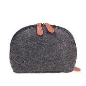 Soft Shell Shape Felt Handbag Makeup Bag Travel Pouch Storage Bags Organiser Purse Black