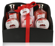 Spa Gift Basket with Garden Rose fragrance - Beautiful Box - Gift set Includes Shower Gel, Bubble Bath, Bath Bombs Bath Salts and More! Great Wedding, Birthday, Anniversary, Mothers Day gift for Women