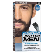 Just for Men Moustache and Beard Colour Gel, #M-55 Real Black, 3 Count