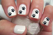 Black Paw Prints Nail Decals