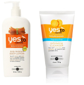 Yes To Carrots Moisturising Body Lotion, 350ml + Fragrance-Free Exfoliating Cleanser, 120ml + Makeup Blender