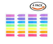 LuckyStar365 4 Sets Neon Page Marker Coloured Index Tabs Flags, Rainbow Assorted Bright Colours, Fluorescent Sticky Note for Page Marker, 560 Pieces