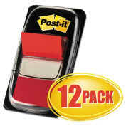 Post-it Flags 680RD12 - Marking Flags in Dispensers, Red, 50 Flags/Dispenser, 12 Dispensers/Pack-MMM680RD12